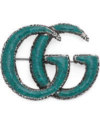 Gucci - Enamelled Double G Brooch - Lyst