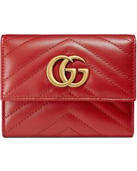 471b22ee3f7a37 Gucci Gg Marmont Matelassé Leather Chain Wallet in Red - Lyst