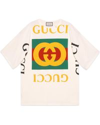 48341f6f697 Gucci Vintage Logo Cotton Jersey T-shirt in White - Save 18% - Lyst