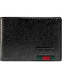 Gucci - Leather Bi-fold Wallet With Web - Lyst