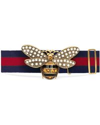 b43cf6e49ea Lyst - Gucci Sylvie Web Belt With Bee