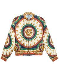 Gucci - Printed Silk Bomber Jacket - Lyst