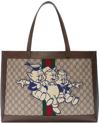 Gucci - Ophidia GG Tote With Three Little Pigs - Lyst
