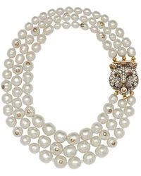 Gucci | Layered Pearl Necklace With Feline Closure | Lyst
