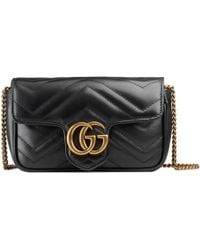 df69f672c0f Gucci - Gg Marmont Matelassé Leather Super Mini Bag - Lyst
