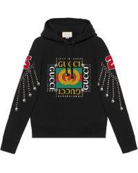 Gucci - Sweat-shirt avec logo et cristaux - Lyst