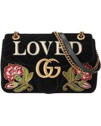 Gucci - GG Marmont Embroidered Velvet Shoulder Bag - Lyst