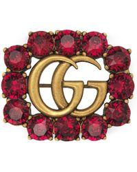 Gucci - Spilla Doppia G in metallo con cristalli - Lyst