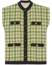 Gucci - Houndstooth Sleeveless Vest With Ribbon Trim - Lyst