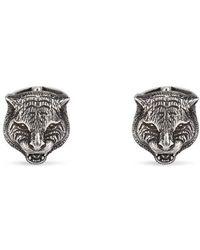 Gucci - Feline Head Cufflinks In Silver - Lyst