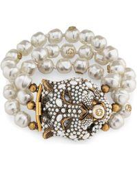 b7fa251de0b Gucci - Feline Head Bracelet With Crystals And Pearls - Lyst