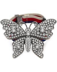 Gucci - Crystal Studded Butterfly Bracelet - Lyst