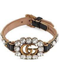Gucci - Leather Bracelet With Double G - Lyst