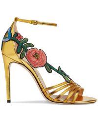 Gucci - Embroidered Metallic Leather Mid Heel Sandal - Lyst