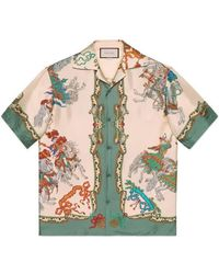 Gucci - Silk Bowling Shirt With Jousting Print