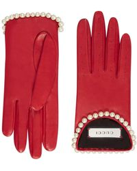 1c27f0cd7f2 Gucci - Leather Gloves With Pearls - Lyst