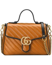 7c2fbaca27dee5 Gucci Gg Marmont Small Top Handle Bag in Green - Lyst