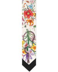 Gucci - Flora Snake Print Neck Bow - Lyst