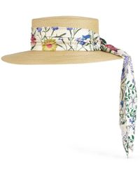 Gucci - Papier Hat With New Flora Ribbon - Lyst