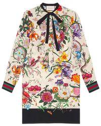 Gucci - Flora Snake Print Silk Dress - Lyst