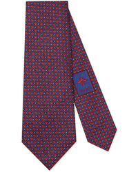Gucci - Bees And Dots Pattern Silk Tie - Lyst