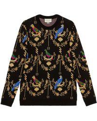 Gucci - Voliére Wool Jacquard Sweater - Lyst