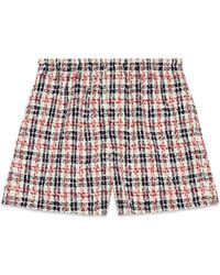 Gucci - Short en tweed à carreaux - Lyst