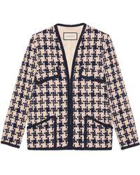 Gucci - Houndstooth V-neck Jacket - Lyst