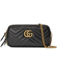 0d6b39a3bd Gucci - Mini borsa GG Marmont con catena - Lyst