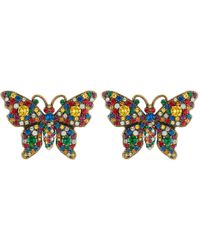 1f41f2e1290 Lyst - Gucci Sterling Silver Butterfly Earrings in Metallic