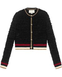 Gucci - Knitted Cardigan With Web - Lyst