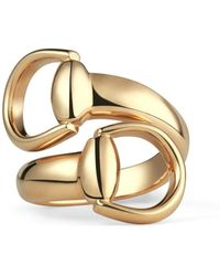 Gucci - Horsebit Ring In Yellow Gold - Lyst