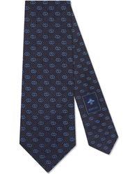 Gucci - Silk Tie With Gg Pattern - Lyst