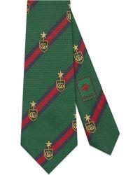 Gucci - Cravatta in seta con motivo stemmi e Web - Lyst