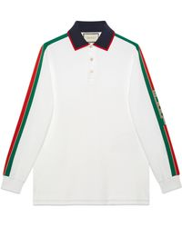 Gucci - Polo in cotone con nastro - Lyst