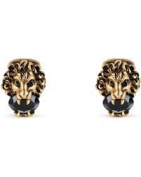 Gucci - Lion Head Cufflinks With Crystals - Lyst