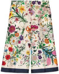 Gucci - Flora Silk Twill Pajama Pant - Lyst