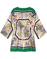 Gucci - Kaftan aus Seide mit Blumen-Print - Lyst