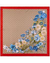 Gucci - Gg Bouquets Print Silk Scarf - Lyst