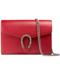 98cb3db44d91 Lyst - Gucci Dionysus Suede Wallet Shoulder Bag in Natural