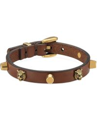 Gucci - Leather Bracelet With Feline Heads - Lyst