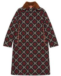 2889d3b4b4d8 Gucci Diamond Hand-woven Long Hair Goat Coat in Red - Lyst