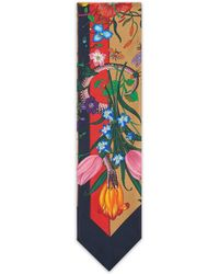 Gucci - Flora Snake Stripes Print Silk Neck Bow - Lyst