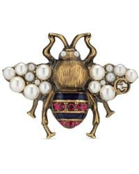 Gucci - Bee Ring With Crystals And Pearls - Lyst