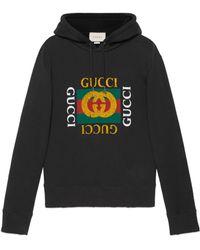 d8595c02a6 Gucci - Felpa In Cotone Con Cappuccio - Lyst