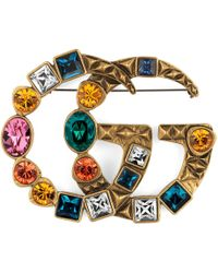 Gucci - Crystal Double G Brooch - Lyst