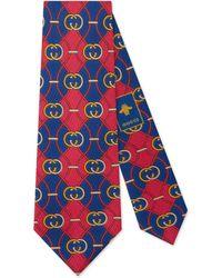 Gucci - Cravate en soie à imprimé GG à losanges - Lyst