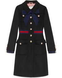Gucci - Wool Coat With Web - Lyst