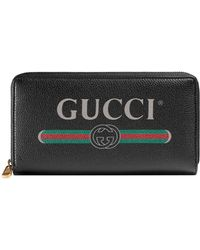 Gucci - Logo Print Leather Wallet - Lyst