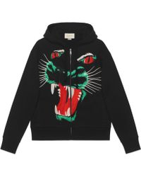 Gucci - Cotton Sweatshirt With Panther Face - Lyst